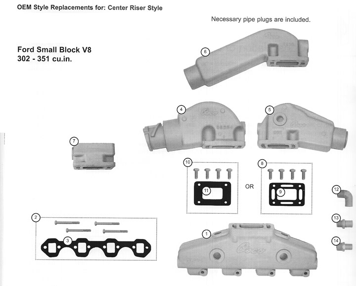 Ford Exhaust Center Riser Parts